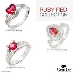 Explore Ruby Red Crystal & Zircon Jewellery from GemLN
