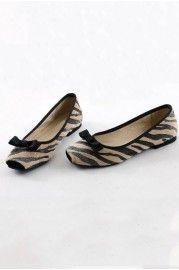 Sweet Bowknot Embellished Zebras Detail Ballet Shoes from @OASAP