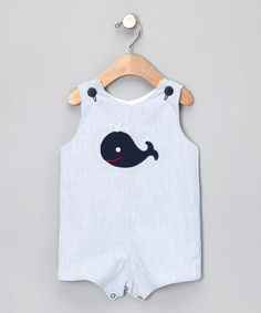 Take a look at this Navy Whale Seersucker Shortalls - Infant & Toddler by Buds 'n' Branches on #zulily today!