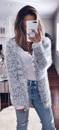 #winter #outfits white fur jacket