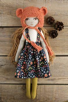 Handmade doll. Fabric doll. Crochet bonnet. Cotton and linen fabrics. Hand embroidery. Mushroom and floweres dress.