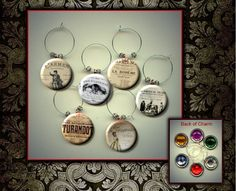 Famous OPERA'S Classic Set of 6 Altered Art Button WINE Glass Charms w/ Rhinestone by Yesware11 on Etsy