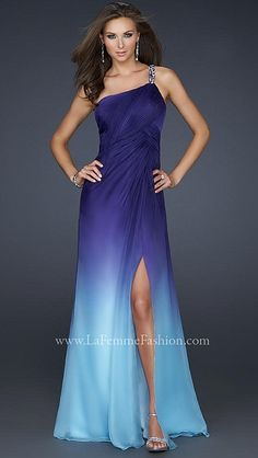 With flower design beading along back, this ombre style gown is gorgeous with it's pleating and slit up the leg.