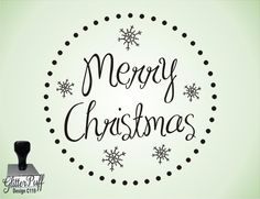 Round Merry Christmas Rubber Stamp (C119). $17.95, via Etsy.