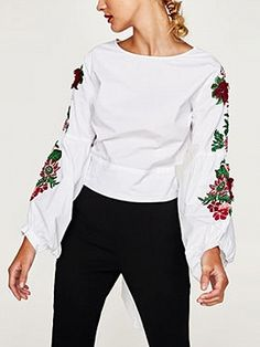 Shop White Embroidery Puff Sleeve Bow Tie Back Top from choies.com .Free shipping Worldwide.$33.99