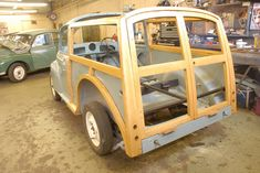 With a fresh lick of paint - the Morris Traveller's frame was reconstructed Classic Mini, Classic Cars, Morris Traveller, Morris Oxford, Woody Wagon, British Car, Morris Minor, Vintage Surf, Classic Motors