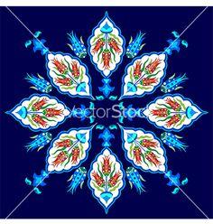 Flowers in the ottoman art one version vector on VectorStock&reg