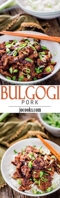 Korean Bulgogi Pork - a Korean inspired recipe of marinated pork tenderloin. Easy, quick and delicious. No wonder it's one of Korea's most beloved meat dishes.