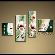 Amazing Contemporary Wall Art High Quality Oil Painting For Living Room Tulip Flowers. This 4 panels canvas wall art is hand painted by Anmi.Z, instock - $135. To see more, visit OilPaintingShops.com