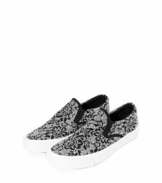 Grey Lace Print Slip On Plimsolls - less than € 15!