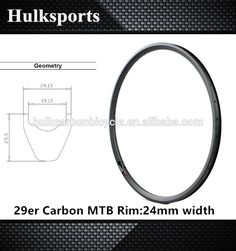 """Check out this product on Alibaba.com APP 2016 MTB bike 24mm wide mountain bicycle carbon rim light weight hookless 29"""" mtb AM/Cyclocross carbon rims"""