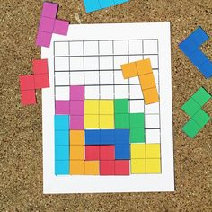 Tetris printable game with board and pieces