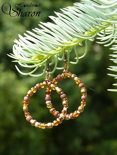 brown - golden handmade hoops, hoop earrings, elegant beads and copper wire