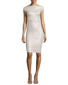 La Petite Robe di Chiara Boni Shimmery Ruched Jersey Dress, Ivory Spring 2015