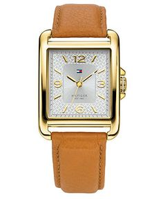 Tommy Hilfiger Watch, Women's Tan Leather Strap 45x32mm 1781210 - Watches - Jewelry & Watches - Macy's