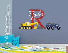 Custom name Construction Kids Wall Decal  by WallapaloozaDecals, $40.00