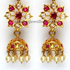 Light Weight Jhumkas with Pearls   Jewellery Designs