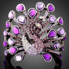 'Purple Swarovski Peacock Bracelet, New' is going up for auction at  5pm Fri, Mar 8 with a starting bid of $15.