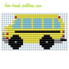 Baby toy School bus free fusion beads Pyssla Hama Beads pattern design for children