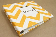 Baby Memory Book - Yellow and White Chevron Slub Fabric  (78 designed journaling pages & personalization included with every album)