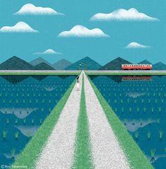 Ryo Takemasa - Cover illustration for NON magazine, May 2016 issue Comics Illustration, Plant Illustration, Graphic Design Illustration, Illustrations, Ryo Takemasa, Beautiful Landscape Wallpaper, Art For Art Sake, Travel Posters, Landscape Art