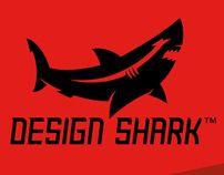 'Design Shark' mark + custom type | logo design by Dan Blessing on Behance. Black and red.