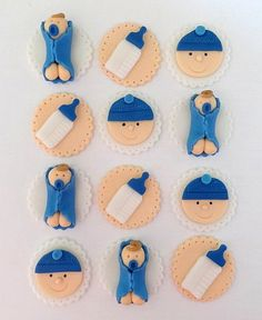 12 Fondant Cupcake Toppers - Baby Shower Boy or Girl. $18.95, via Etsy.