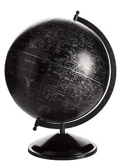 Office Decorator — Large Black Globe On Stand. Put diamanté rhinestones for all the places visited
