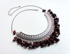 Silver pectoral and red tiger's eye gemstones necklace  by MercysFancy on Etsy