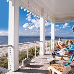 "Create A Family Hangout ""Keep your eye on the view. Steel-cable or clear-glass railing systems take a minimalist approach while still complying with safety codes."""