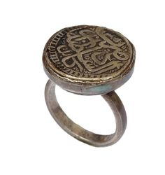 orient seal ring with antique Arabic Islamic Coin Silver Münze afghanistan No:94