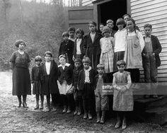School children of coal miners posed in front of their school at Rock Lick, West…