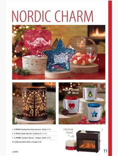 Partylite Fall / Holiday Catalog Page 11 - Nordic Charm, Fireplace Scentglow warmer, Woodland Deer Votive Hurricane