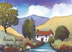 ACEO Original watercolour Hillside Cottage by Pamelajonesartstudio, £5.50