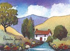 ACEO Original watercolour Hillside Cottage landscape miniature painting