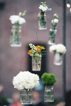 simple hanging mason jar vases  Photography by katieosgood.com, Wedding Planning by eapweddings.com, Floral Design by rebeccashepherdfloraldesign.com
