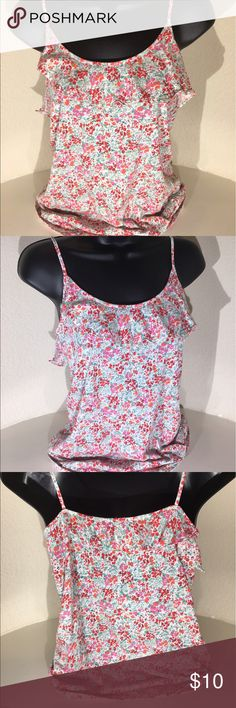 J Crew Floral Cami/ Tank Top Size S Cute floral tank top with an angled ruffle across the front neckline. 100% Cotton, spaghetti straps. J. Crew Tops Tank Tops