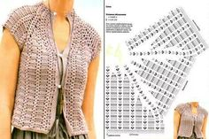 § bel gilet con modello e schema § It is a website for handmade creations,with free patterns for croshet and knitting , in many techniques & designs. This Pin was discovered by Lin I like the look of this armhole design Knit&Crochet added a new photo. Débardeurs Au Crochet, Gilet Crochet, Crochet Coat, Crochet Cardigan Pattern, Crochet Jacket, Crochet Blouse, Jacket Pattern, Crochet Clothes, Crochet Patterns