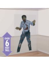 Zombie Photo Backdrop - Party City - $6.99. This would be a good idea to use if we wanted to put a background for the photo booth, or even just for inside somewhere