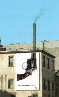Smoking gun guerrilla marketing advertisement
