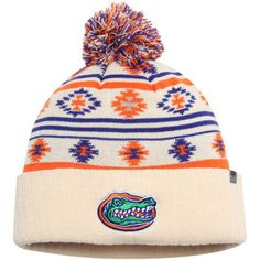 0b01f09782c Women s Top of the World Cream Florida Gators Aztech Cuffed Pom Knit Hat