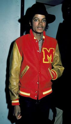 the pop-icon Michael Jackson wearing a varsity jacket