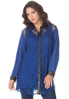 Plus Size Faux Leather Lace Bigshirt from Denim 24/7