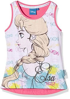 Disney - Canotta Frozen Disney, Camiseta para niñas, rosa, 7 #camiseta #starwars #marvel #gift