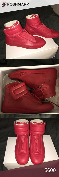 Maison Margiela Future Red (AUTHENTIC) OBO I have my worn Margiela for sale as you can tell in pictures they were worn pretty good but was taken care of! Condition 9/10 no watermarks on both shoes small creases from being worn. Price is NEGOTIABLE trying to get rid of these for money for school bought these brand new from Neiman Marcus a year ago. Won't sell through posh due to them taking so much money.. only PayPal so you are safe and secured thanks! Maison Margiela Shoes Sneakers