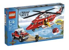 LEGO City Fire Helicopter pieces: to the scene of any emergency!There's a wildfire outside LEGO® City! Quick - launch the Fire Helicopter into the air! Spin the propeller while you hook up the giant bucket, then fly of. Lego City Fire, Lego Fire, Building Sets For Kids, Building Toys, Ambulance, Legos, Firefighter Toys, Lego City Sets, Lego City Police