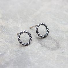 Round sterling silver stud earrings  minimal simple by keepityours