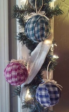 Decoration, Appealing Blue And Red Shredded Fabric Ball Ornaemnt With Gingham Pattern For Cool Rustic Christmas Ornaments With Christmas Lights: Gorgeous Rustic Christmas Tree Decorations