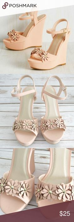 """Bamboo Peach Ankle Strap Pompey Wedge Sandals Bamboo blue vegan leather wedges. Cute ankle strap wedges with floral details on the toes. The wedges do have a bit of a platform.  Condition: New In Box Brand: Bamboo Type: Sandal Style: Wedge Style Name: Pompey Color: Peach Size: 9, 10 Wedge Height: 5.5"""" ; Platform 1"""" Materials: Man made materials  DD2.5:201802211445:0900:0562B BAMBOO Shoes Wedges"""