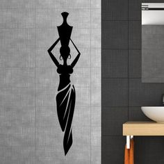 """Style and Apply African Lady with Vase Wall Decal Color: Pastel Orange, Size: 59"""" H x 14"""" W"""